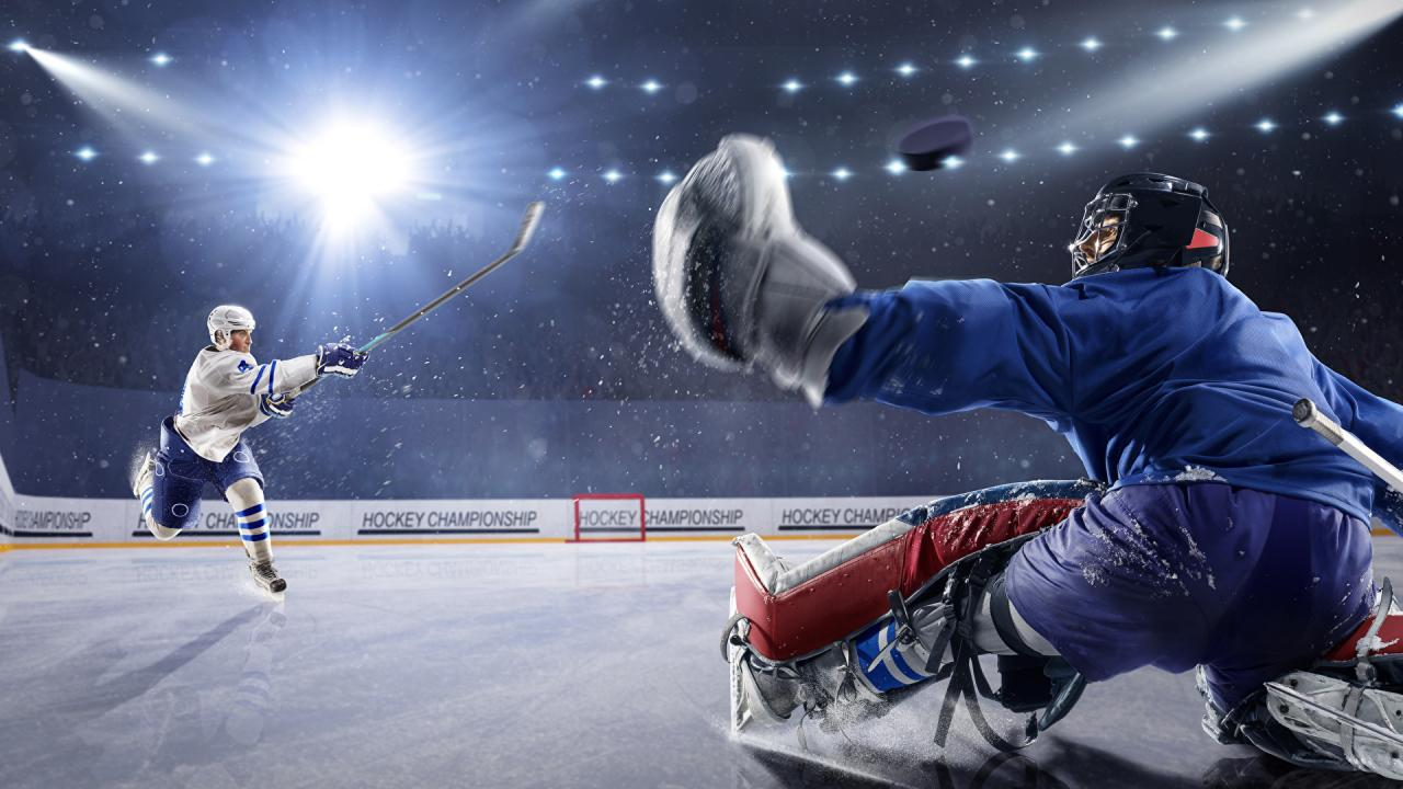 Picture Rays of light Men Ice rink Two Sport Hockey 1920x1080